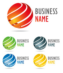 3D business logo color globe design