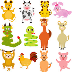 Cute vector Icons : Twelve Chinese Zodiac animals