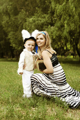Alice and White Rabbit in Wonderland