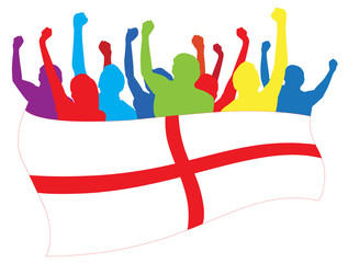 England fans vector illustration