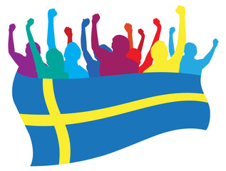 Sweden fans vector illustration