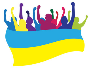 Ukraine fans vector illustration