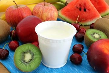fresh yogurt with fruits