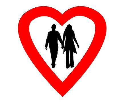 Couples amoureux dans un coeur