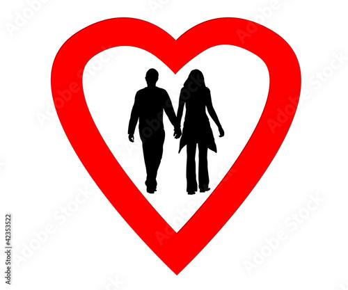 Couples amoureux dans un coeur photo libre de droits sur - Un coeur amoureux ...