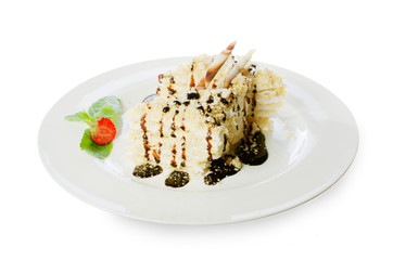 delicious dessert with chocolate