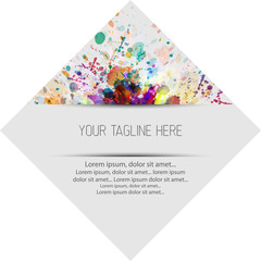 Abstract colorful label,tag. Splash watercolor background
