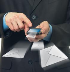 Businessman sends a virtual message