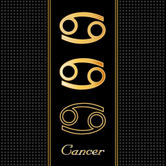 Cancer Horoscope Symbols, 3 silhouette styles, embossed gold