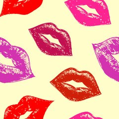 seamless pattern with abstract lips