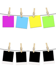 blank photographs and postcard noted  hanging on clothesline ove