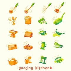 kitchen and cooking icon design elements