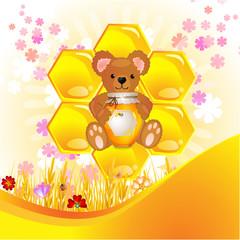 Illustration of cute bear cub with honey