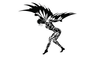Tribal angel / vector tattoo