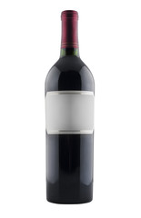 Fototapete - Red wine bottle with blank label, isolated