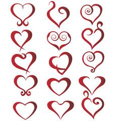 Set of stylized hearts logo vector