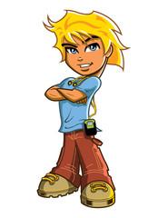 Blonde Boy With Headphones