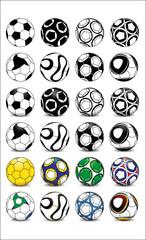Vector Set Football Soccer Balls