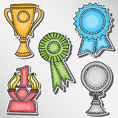 Trophies and awards set - stickers