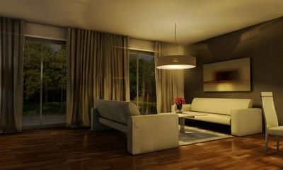 3d Wohnzimmer abends