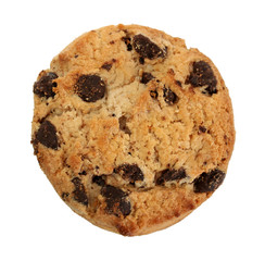 Chocolate chips cookie isolated on white.