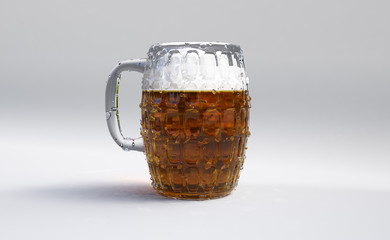 beer mug in a white environment 3d rendering