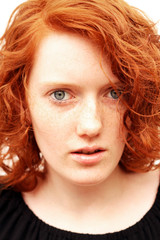 freckled redhead teenager girl