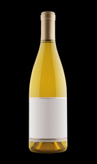 Fototapete - white wine bottle on black, isolated