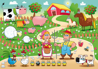 Wall Murals Ranch Farm Family. Funny cartoon and vector illustration.