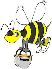 Bee carrying pots of honey