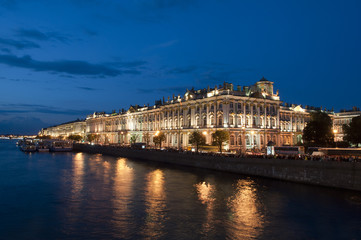 Winter palace (Hermitage) in St.Petersburg, Russia. White night.