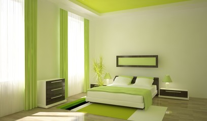 green bedroom in the home