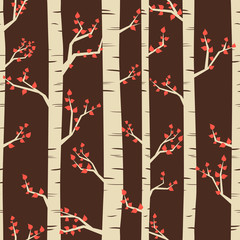 Seamless pattern with birch trees in autumn.
