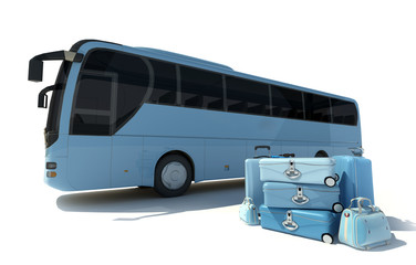 Coach bus and luggage