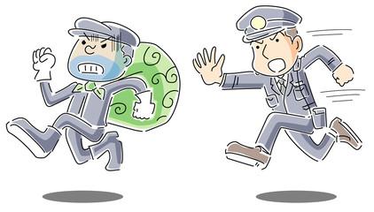 泥棒を追いかける警察官