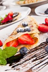 Sweet pancake with fruits