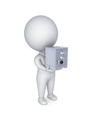 3d small person with an iron safe in a hands.