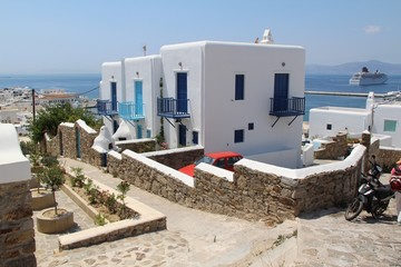 Traditional blue and white stucco houses on Mykonos, Greece