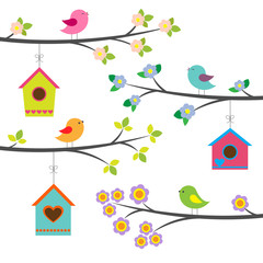 Birds and birdhouses. Vector set