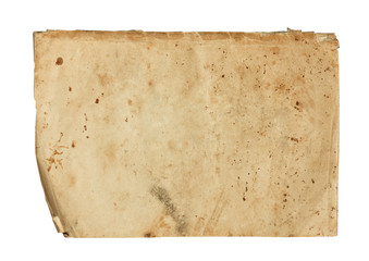 Aged weathered paper on white