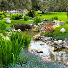Fototapeta premium ogród ze stawem w stylu azjatyckim
