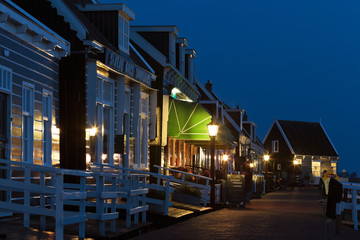 Evening view of the historic Dutch village Marken