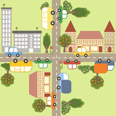 Acrylic Prints On the street Cartoon town map.