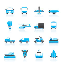 Transportation and travel icons - vector icon set