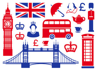 Papiers peints Doodle Icons on a theme of England