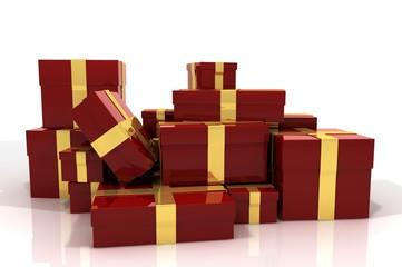Stapel Geschenke rot gold