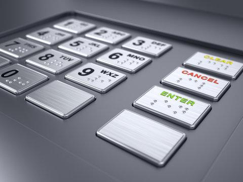 ATM machine keypad numbers