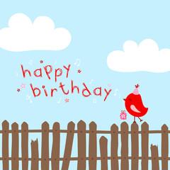 "Red Bird On Fence Singing ""Happy Birthday"" Blue"