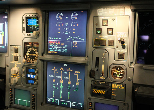 detailed view on jet cockpit