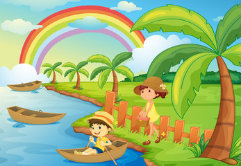 Poster Regenboog a boy and girl are boating